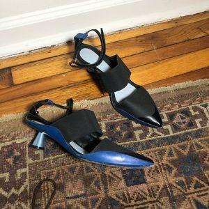 Kenzo Honeycomb Black and Blue Kitten Heel